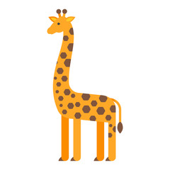 Vector flat style illustration of giraffe.