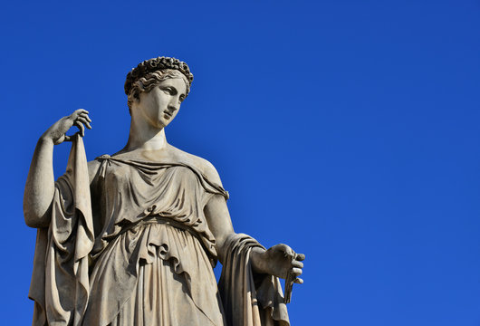 Classical goddess statue in Rome (with copy space)