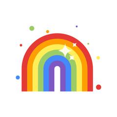 Vector flat style illustration of rainbow.