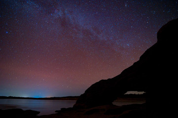 Milky Way Galaxy and Stars in Night Sky.
