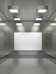 Blank billboard or poster inside of empty elevator cabin