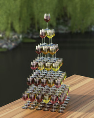 Tasting wine with palette in the form of a pyramid of red, roze