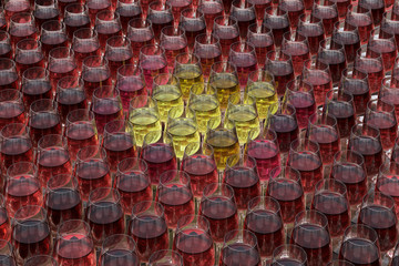 Tasting wine with palette of red, roze and white wines in glasse
