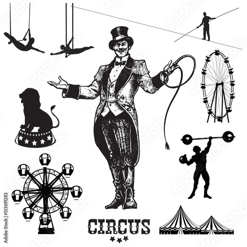 Circus and amusement park vector illustrations.Animal trainer. Showman