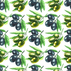 Watercolor illustration. Olive branch. Seamless pattern.