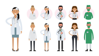 Hospital medical staff team doctors nurses surgeon. Avatar icons