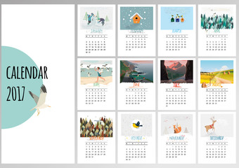 Colorful cute monthly calendar 2017. Can be used for web,banner,poster,label and printable. Vector