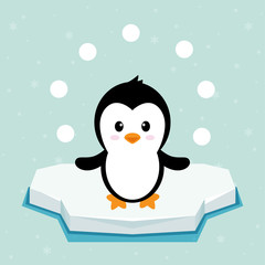 penguin on ice with snowballs