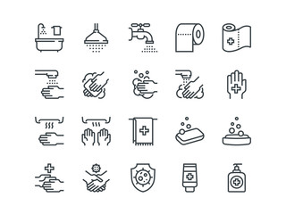 Hygiene. Set of outline vector icons