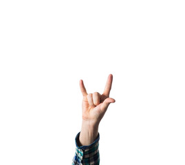 Male, man, hipster, in plaid shirt,  hand raised showing a heavy metal rock sign, trend, life to the fullest, life