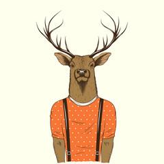 Modern deer hipster