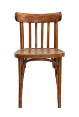 Front view of old wooden chair