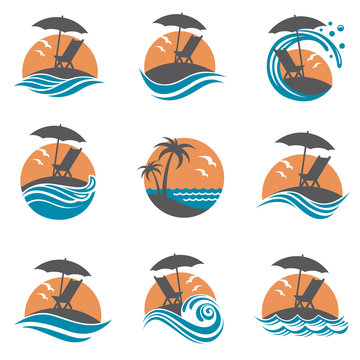 emblems collection of summer vacation with reclining chair and umbrella on island