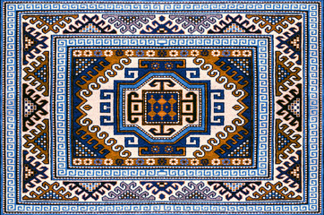 Motley woolen carpet with ethnic folk geometric pattern in blue and brown shades