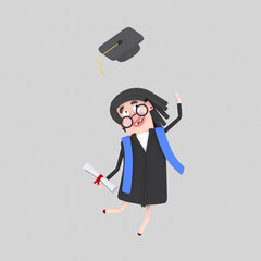 Graduate woman jumping with her cap in the air