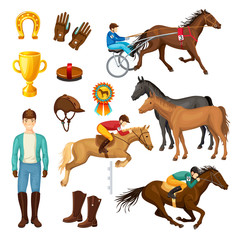 Equestrian Cartoon Elements Collection
