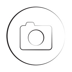 Black ink style Camera icon with circle
