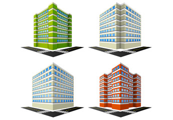 4 Condo Building Illustrations
