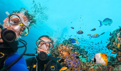 Poster Diving Scuba divers looking at camera underwater