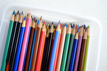 Pencils in Box With Erasers for Work or Business