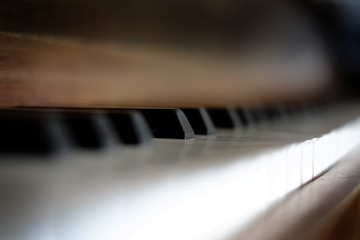 Piano Keys on Old Vintage Instrument Ebony & Ivory