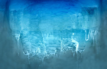 Photo blue transparent icicles