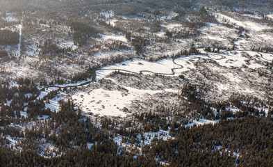 aerial view of the winter  time in  Karkonosze mountains in Pola