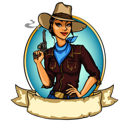 Pretty Cowgirl holding smoking gun