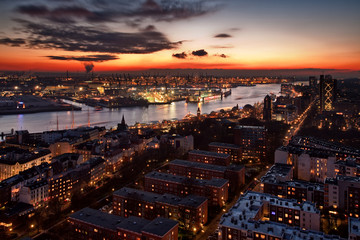 Cityscape of Hamburg at sunset, Hamburg, Germany