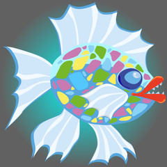 evil cartoon fish