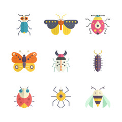 Colorful Bugs Icons