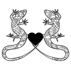 Vector illustration of lizards mandala, lucertole mandala vettoriali