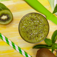 Kiwi Fruit Juice Smoothie Drink. Selective focus.