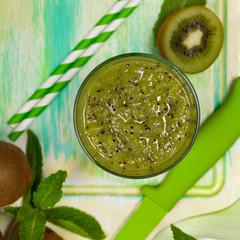 Kiwi Fruit Juice Smoothie Drink. Selective focus.
