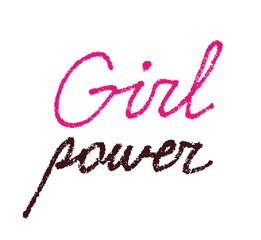 Girl power, textured lettering isolated on white background. Feminist statement, woman rights support, female empowerment against discrimination. International Women's Day design, March 8 calligraphy.