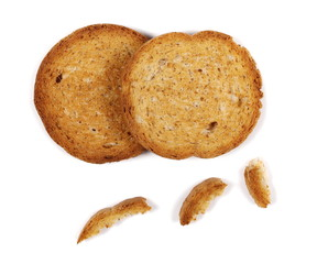 set rusks with wholewheat flour, bread sliced isolated on white background