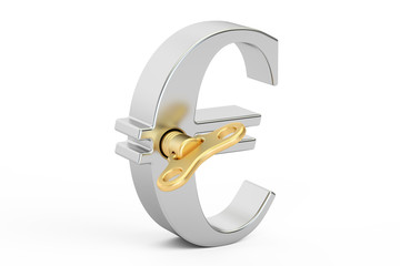 Steel Euro symbol with wind-up key, 3D rendering