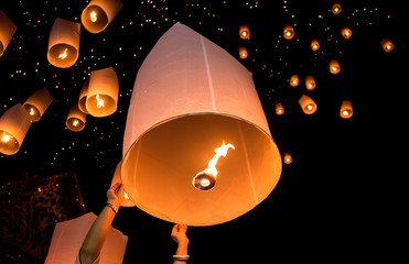 Yi Peng Lantern Floating into sky with copy space