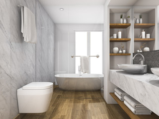 3d rendering wood and marble toilet and bathroom with built in