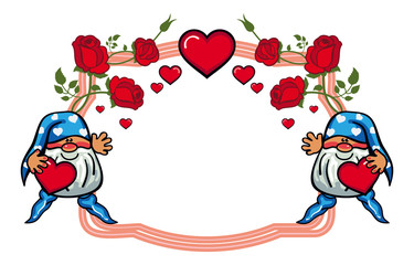 Oval label with roses and cute gnome holding heart. Vector clip art