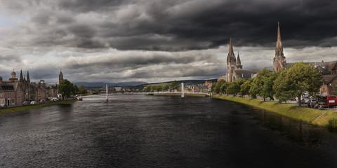 City skyline with overcast sky, Inverness, Scotland, UK