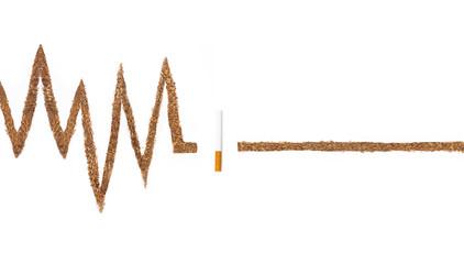 No smoking. ECG waves, tobacco isolated on white