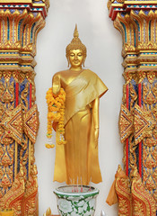 Beautiful standing buddha image in the temple, thailand