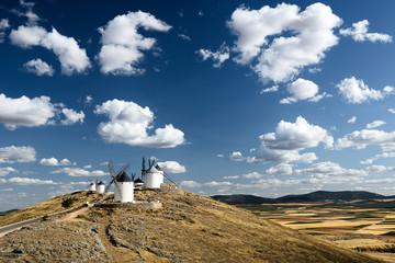 Windmills on hill, La Mancha, Spain