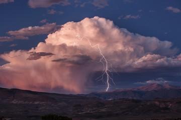 Lightning above a desert in Nevada, USA.