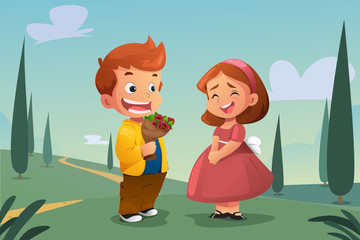 Boy Giving Flower to a Girl