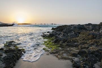 Sunset over a beach in Boa Vista, Cape Verde.