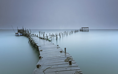 A jetty at a beach in Setubal, Portugal.