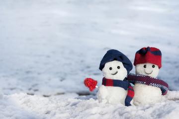 雪だるま 雪背景
