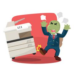 business turtle angry kicking photocopy machine